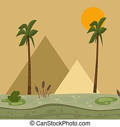 Egypt landscape, pyramid vector illustration. Africa nature, swamp with water lilies, frog, reeds.
