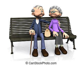 A sweet old cartoon man and woman sitting on a bench, smiling and looking at eachother. White background.