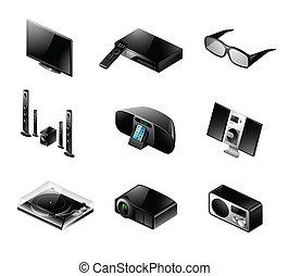 Electronics icon set - TV and audio