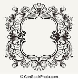 Elegant Baroque Ornate Curves Engraving Frame