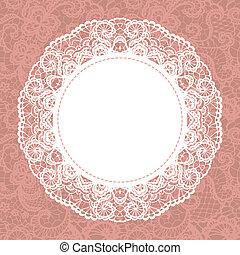 Elegant doily on lace gentle background. Scrapbook element.
