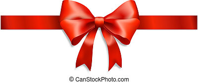 elegant red ribbon and bow isolated on white