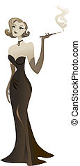 Seductive blond girl in a long black dress - vintage style