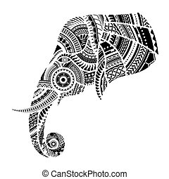 Elephant tattoo ornamented with Maori style elements