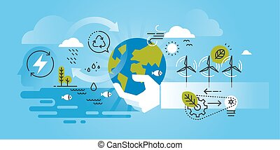 Flat line design website banner of environment, renewable energy, green technology, recycling, nature, biosphere conservation. Modern vector illustration for web design, marketing and print material.