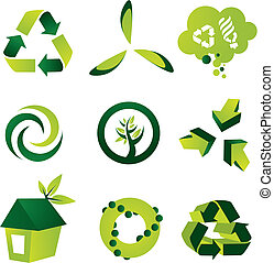 A set of nine environmental vector design elements