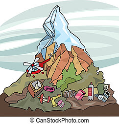 illustration of mountain and lot of rubbish around it