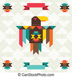 Ethnic background with eagle in navajo design.