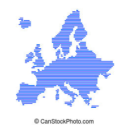Europe silhouette with strips - vector illustration.