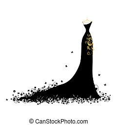 Evening dress black on hangers