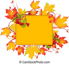 Fall colors adorn background, perfect for greeting cards or retail signage. Vector illustration perfect for Thanksgiving and Halloween