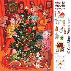 Family decorates christmas tree. Find 10 hidden objects