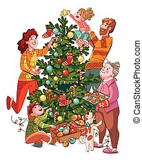 Family decorates christmas tree. Funny cartoon character