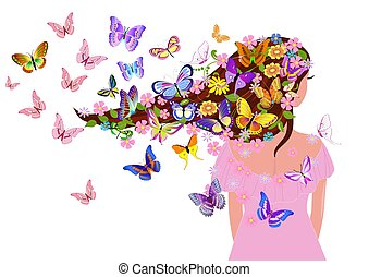 fancy girl with butterflies for your design