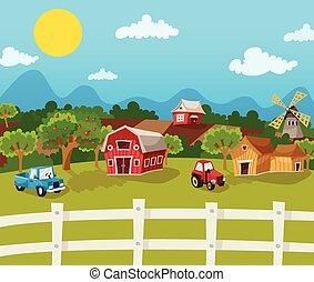 Farm Cartoon Background