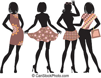 Silhouette of fashion women with model proportions