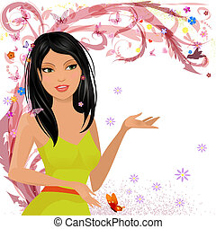 Fashion girl in floral for your design