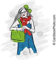 Fashion girl, sketch for your design