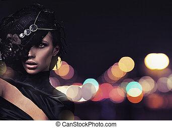 Fashion lady over city background