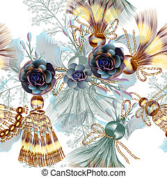 Fashion vector pattern with tussles and flowers