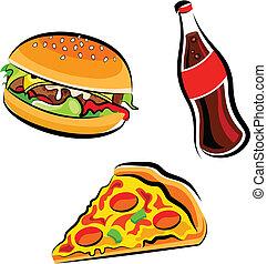 Cartoon illustration of various fast food: Burger, cola and pizza slice