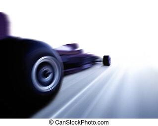 speeding formula 1 car