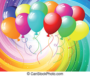 Festive rays with many stars and balloons. Vector illustration.