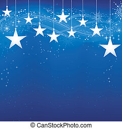 Festive dark blue Christmas background with stars, snow flakes and grunge elements.