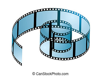 Old film strip in a spiral curl with blue light