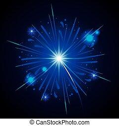 fireworks bursting in shape of blue star on black background