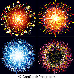 Collection of festive vector fireworks, sparklers and salute explosions
