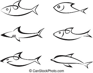 Fishes - set of outline vector icons. Stylized image, isolated. Game-fish. Can be used as logotype. Icon that represents fish and seafoods products or it's value in the product. Symbol, emblem, sign. Tattoo. Design elements.