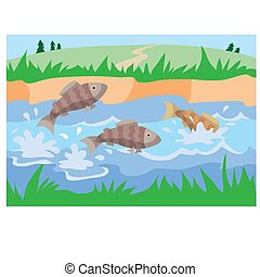 fish splashing in a pond surrounded by green grass, cartoon illustration, vector,