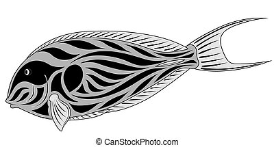 Abstract Fish-surgeon in the form of a tattoo