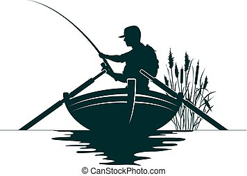 Fisherman with a fishing rod in the boat and reeds