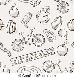 Fitness seamless vintage pattern. Vector illustration