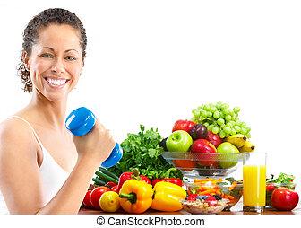 Woman, fitness, working out, exercise, health. Isolated over white background