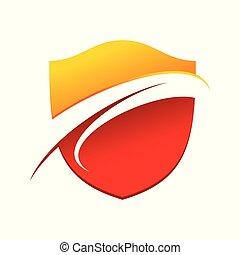 Flaming Wave Guard Modern Shield Symbol Logo Design