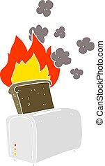 flat color illustration of a cartoon burnt toast