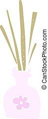 flat color illustration of a cartoon fragrance oil reeds