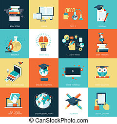 Set of flat design icons for education. Icons for online education, video tutorials, staff training, online book store, learning, research, knowledge, online book.