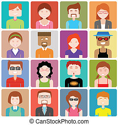 illustration of flat design people icon