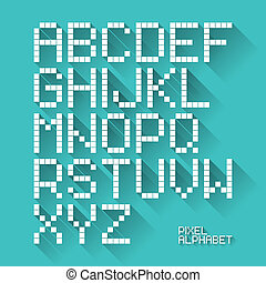 Flat design pixel alphabet