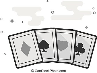 Flat Grayscale Icon - Playing cards