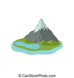 Flat vector design of mountain with snowy peak and blue lake. Green island surrounded by water. Landscape element