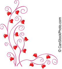 Floral pattern with little hearts for valentine or wedding cards