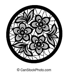 floral design element. Flowers with imitation lace and embroidery