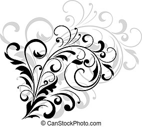 Floral design element with swirling leaves