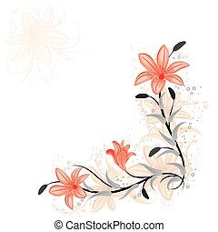 Floral element for design with lily, vector