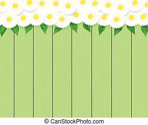 Floral green wood planks.